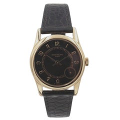 Patek Philippe Calatrava 5000 18 Karat Yellow Gold Black Dial with Papers