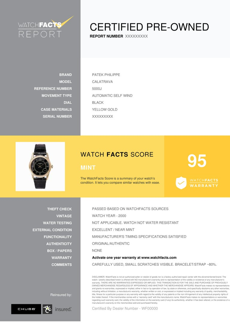 Patek Philippe Calatrava Reference #: 5000J. Mens Automatic Self Wind Watch Yellow Gold Black 33 MM. Verified and Certified by WatchFacts. 1 year warranty offered by WatchFacts.
