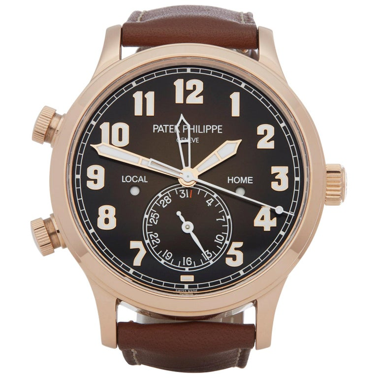 Patek Philippe Calatrava Pilot's Travel Time 18 Karat Rose Gold 5524R-001 For Sale