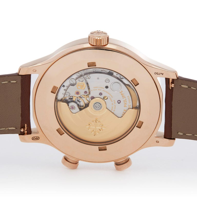 Patek Philippe Calatrava Pilot's Travel Time 18 Karat Rose Gold 5524R-001 For Sale 2