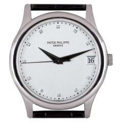 Patek Philippe Calatrava Platinum Rare Silver Diamond Dial 3998P Automatic Watch