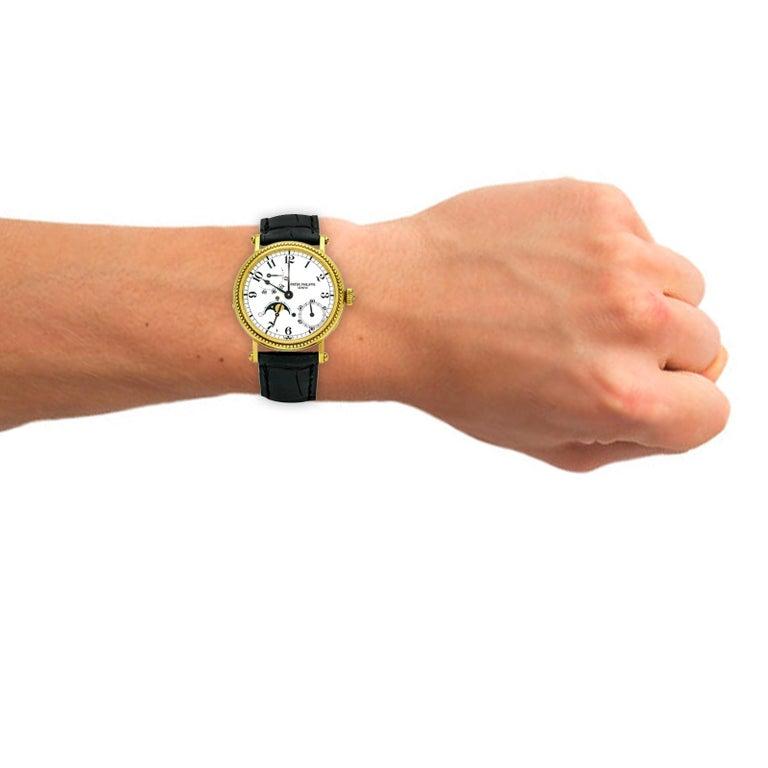 Patek Philippe Calatrava Power Reserve Moon Phase 5015J 18Kt Gold Men's Watch For Sale 7