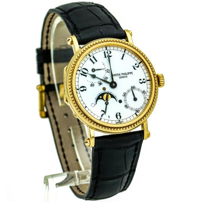 Women's or Men's Patek Philippe Calatrava Power Reserve Moon Phase 5015J 18Kt Gold Men's Watch For Sale