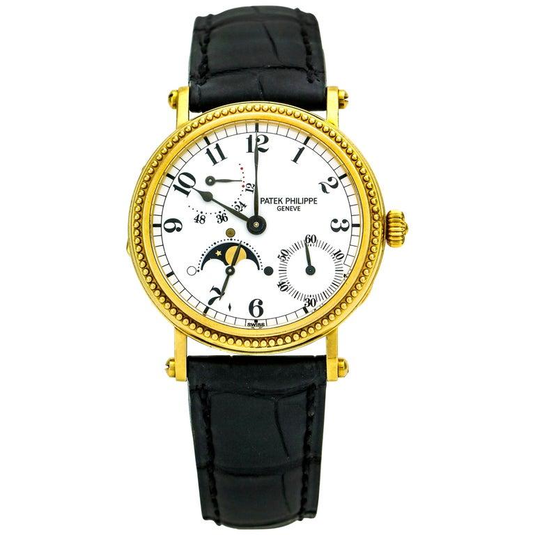 Patek Philippe Calatrava Power Reserve Moon Phase 5015J 18Kt Gold Men's Watch For Sale