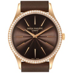 Patek Philippe Calatrava Rose Gold Brown Dial Ladies Watch 4897R Unworn