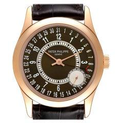 Patek Philippe Calatrava Rose Gold Brown Dial Mens Watch 6000 Box Papers
