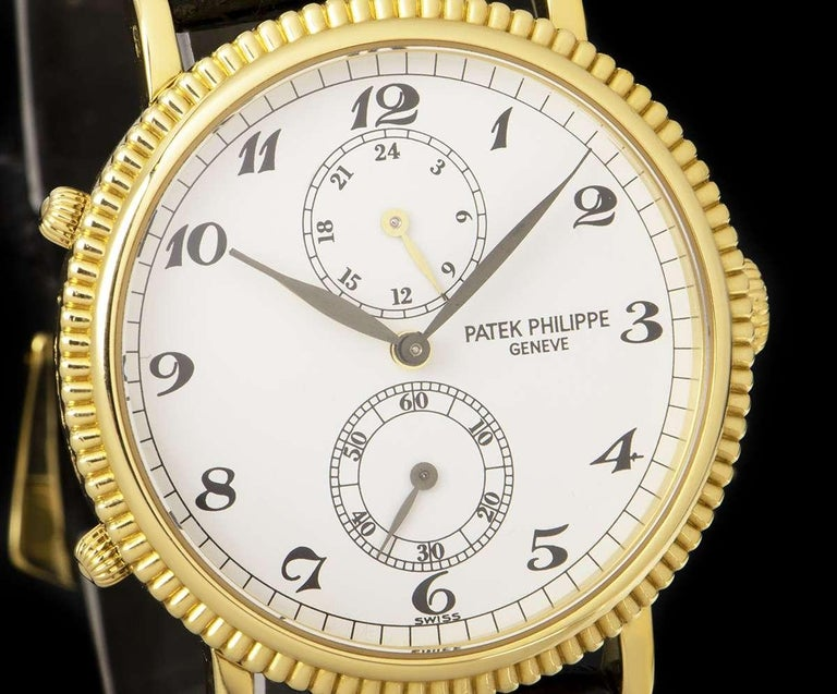 Men's Patek Philippe Calatrava Travel Time 18k Yellow Gold White Dial B&P