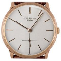 Patek Philippe Calatrava Vintage Gents 18 Karat Rose Gold Silver Dial 2573/2