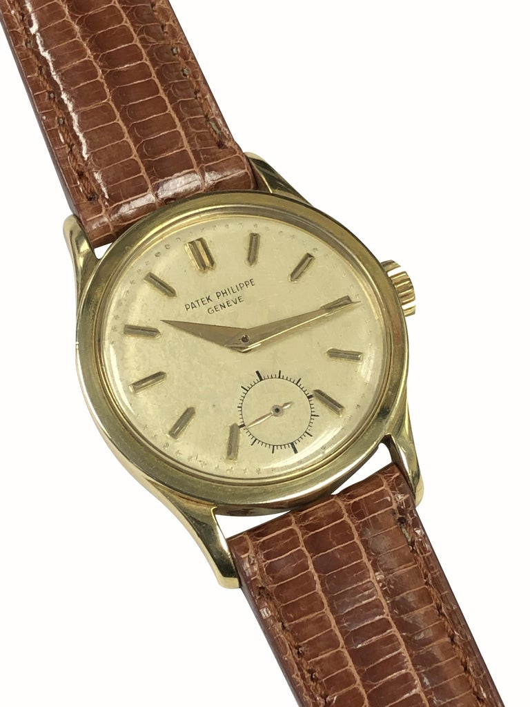 Patek Philippe Calatrava Vintage Ref 2545 Yellow Gold Mechanical Wristwatch For Sale 1