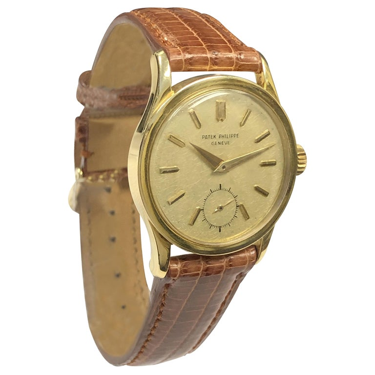 Patek Philippe Calatrava Vintage Ref 2545 Yellow Gold Mechanical Wristwatch For Sale