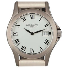 Patek Philippe Calatrava White Gold White Roman Dial Ladies Wristwatch