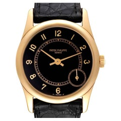 Patek Philippe Calatrava Yellow Gold Black Dial Automatic Mens Watch 5000