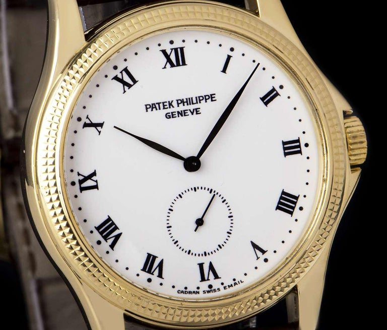 Patek Philippe Calatrava Yellow Gold White Enamel Dial 5115J-001 Watch In Excellent Condition For Sale In London, GB