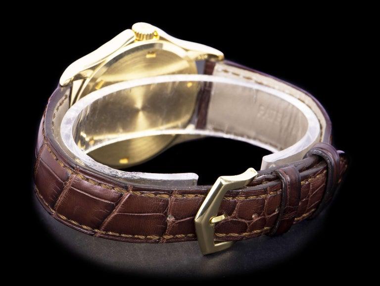 Men's Patek Philippe Calatrava Yellow Gold White Enamel Dial 5115J-001 Watch For Sale