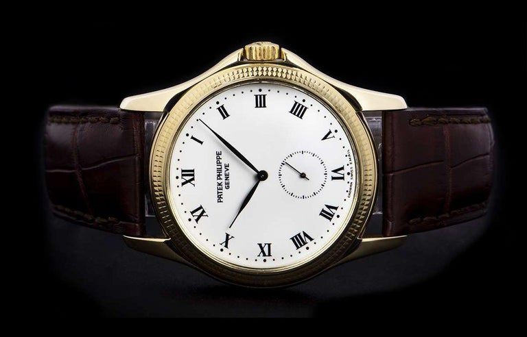 Patek Philippe Calatrava Yellow Gold White Enamel Dial 5115J-001 Watch For Sale 1