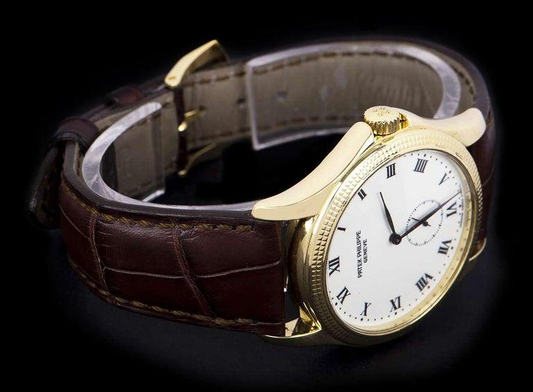 Patek Philippe Calatrava Yellow Gold White Enamel Dial 5115J-001 Watch For Sale 2