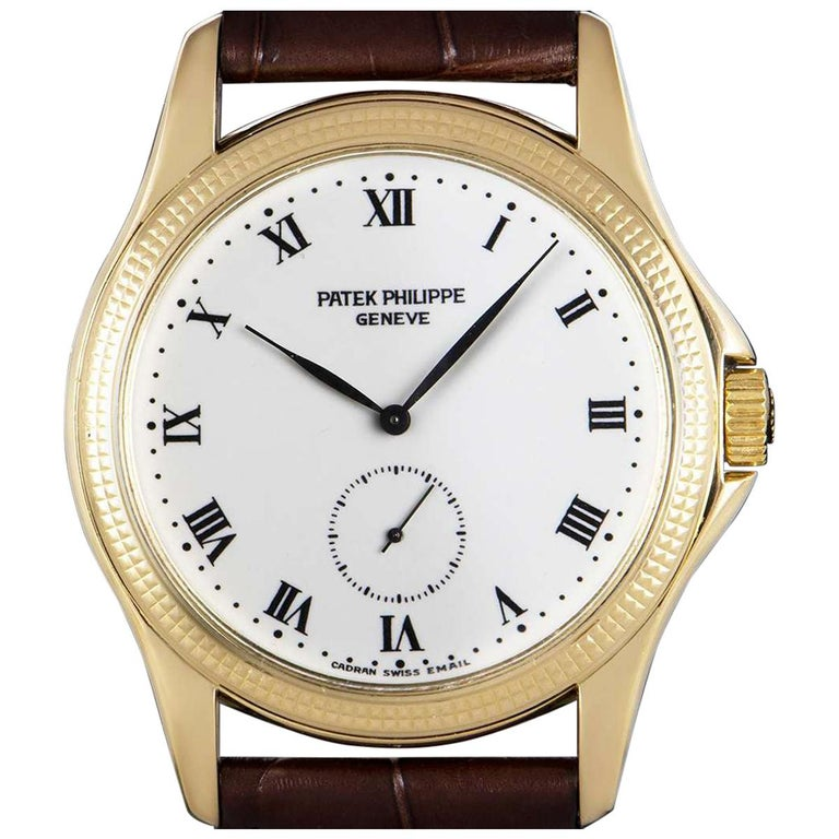 Patek Philippe Calatrava Yellow Gold White Enamel Dial 5115J-001 Watch For Sale