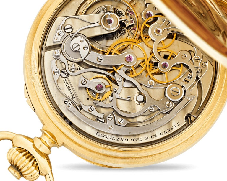 Crafted by the iconic watchmaking firm of Patek Philippe, this Swiss chronograph pocket watch is a marvel of horological design. Housed in an 18K yellow gold open face case, the watch has both an elegant and functional appeal, complete with a