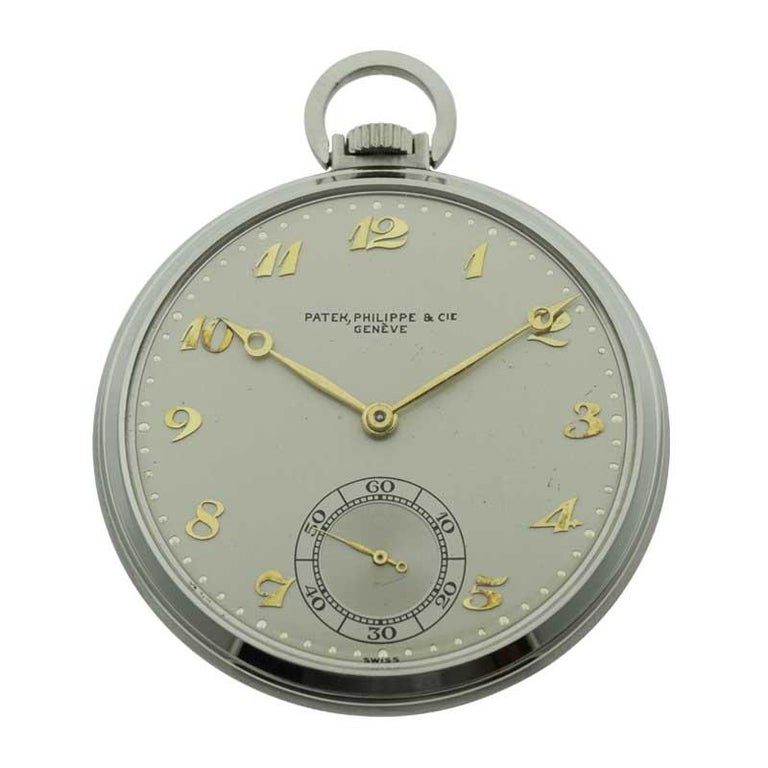 Patek Philippe & Cie. Steel Art Deco Open Faced Pocket Watch, circa 1940s In Excellent Condition For Sale In Venice, CA