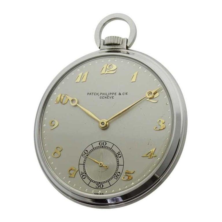 Women's or Men's Patek Philippe & Cie. Steel Art Deco Open Faced Pocket Watch, circa 1940s For Sale