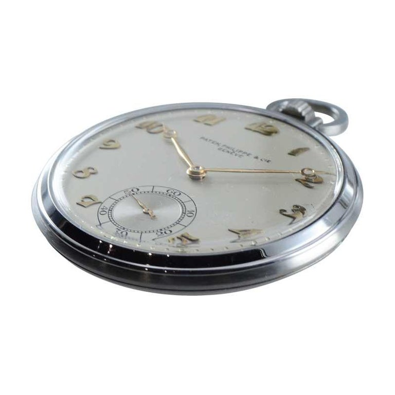 Patek Philippe & Cie. Steel Art Deco Open Faced Pocket Watch, circa 1940s For Sale 1