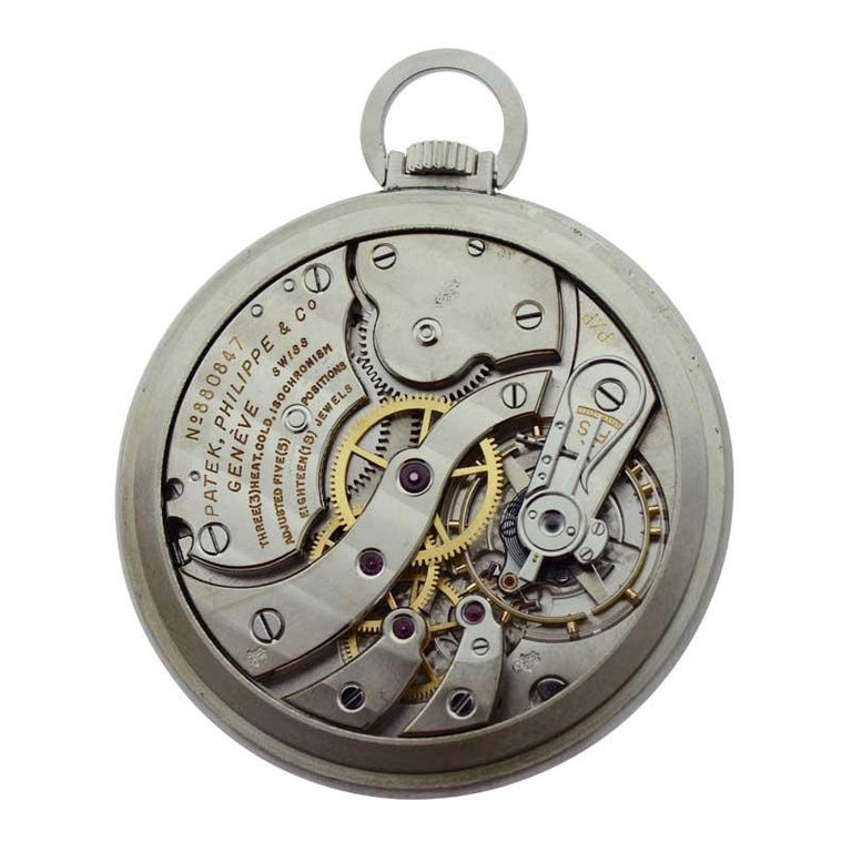 Patek Philippe & Cie. Steel Art Deco Open Faced Pocket Watch, circa 1940s For Sale 2