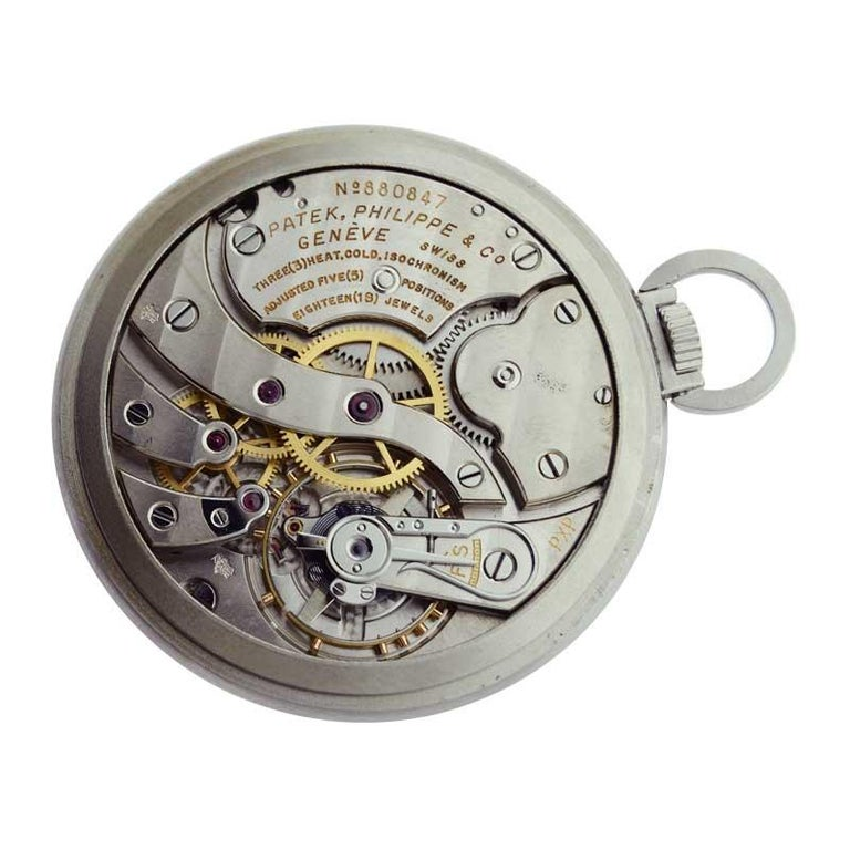 Patek Philippe & Cie. Steel Art Deco Open Faced Pocket Watch, circa 1940s For Sale 3