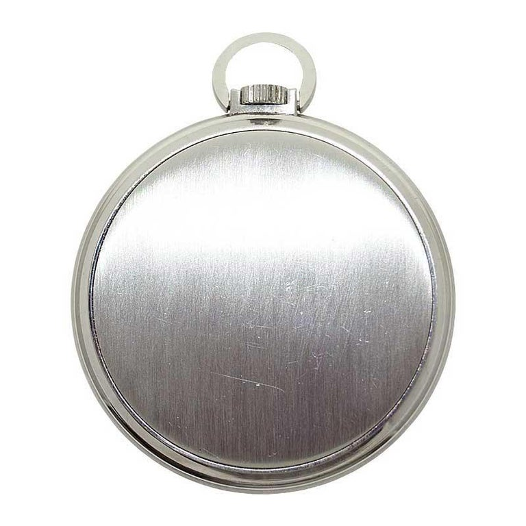 Patek Philippe & Cie. Steel Art Deco Open Faced Pocket Watch, circa 1940s For Sale 5