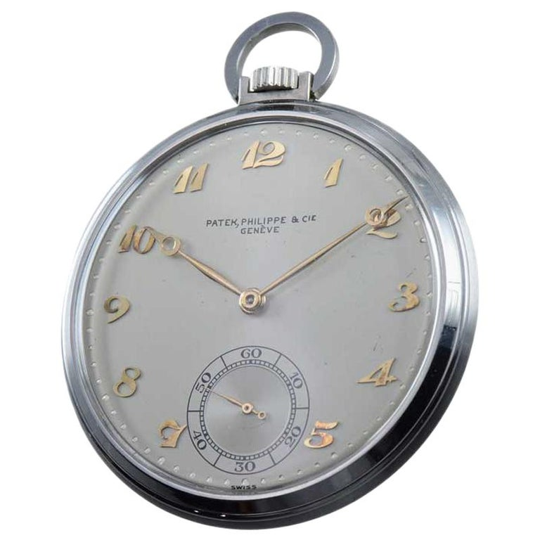 Patek Philippe & Cie. Steel Art Deco Open Faced Pocket Watch, circa 1940s For Sale