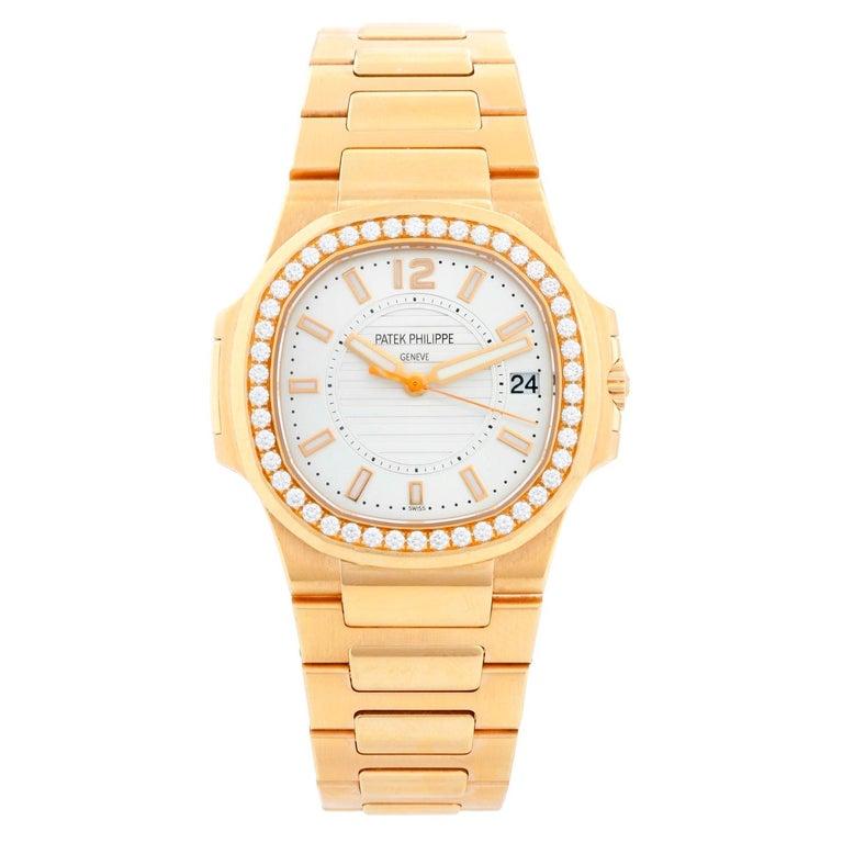 Patek Philippe & Co. 18 Karat Rose Gold Nautilus Diamond Watch 7010R For Sale