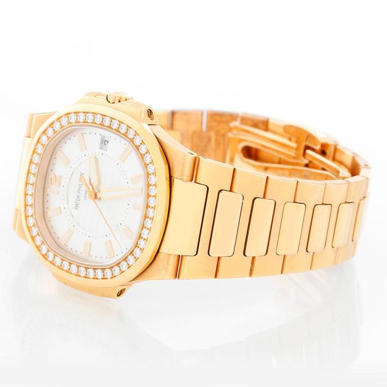 Patek Philippe & Co. 18 Karat Rose Gold Nautilus Diamond Watch 7010R For Sale 2