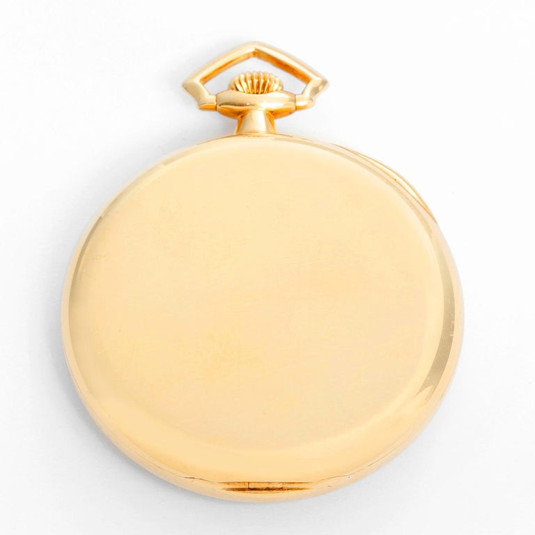 Patek Philippe & Co. 18K  Yellow Gold Open Face Pocket Watch - Manual movement. 18K Yellow Gold Case. Signed Patek Philippe & Co. ( 46 mm ) ; made for Ezra F. Bowman's Sons. White dial with enamel Arabic numerals; sub second dial. Pre-owned with