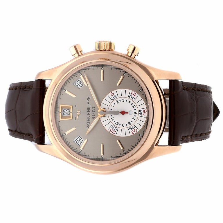 Patek Philippe Complications Annual Calendar Chronograph Watch 5960R-001 In Excellent Condition For Sale In Miami, FL