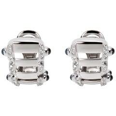 Patek Philippe Diamond and Sapphire Earrings in 18 Karat White Gold