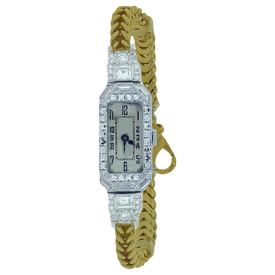 Patek Philippe Diamond Art Deco Watch Platinum and 18 Karat Yellow Gold