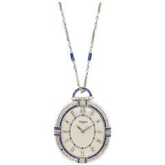 Patek Philippe Diamond Sapphire Pocket Watch with White Gold Chain
