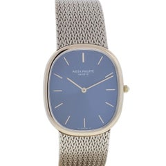 Patek Philippe Ellipse 3738 18 Karat White Gold Blue Dial Men's Watch