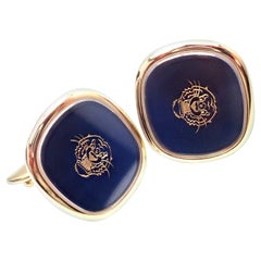 Patek Philippe Ellipse D'or Blue Sunburst Tiger Head Large Yellow Gold Cufflinks