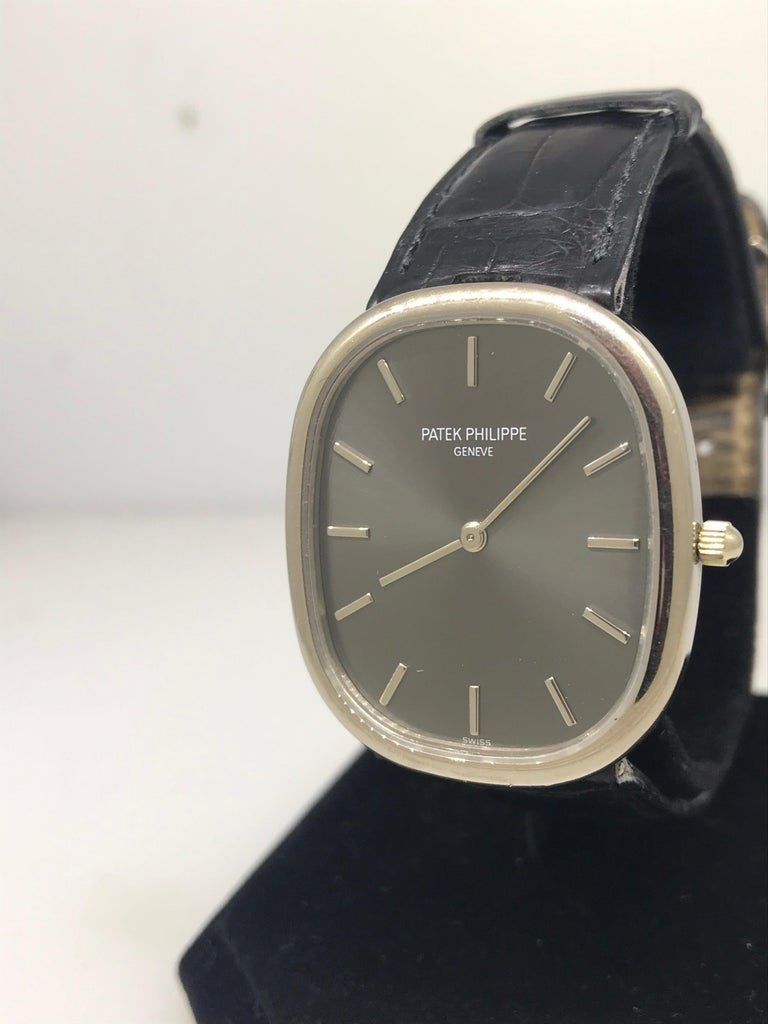 Patek Philippe Ellipse Men's Watch  Model Number: 3738/100G  100% Authentic  Pre-owned   Case is in excellent condition. Strap is worn out  Comes with original Patek Philippe Warranty   White Gold Case & Buckle  Gray Dial  Case Dimensions: 31.1mm x