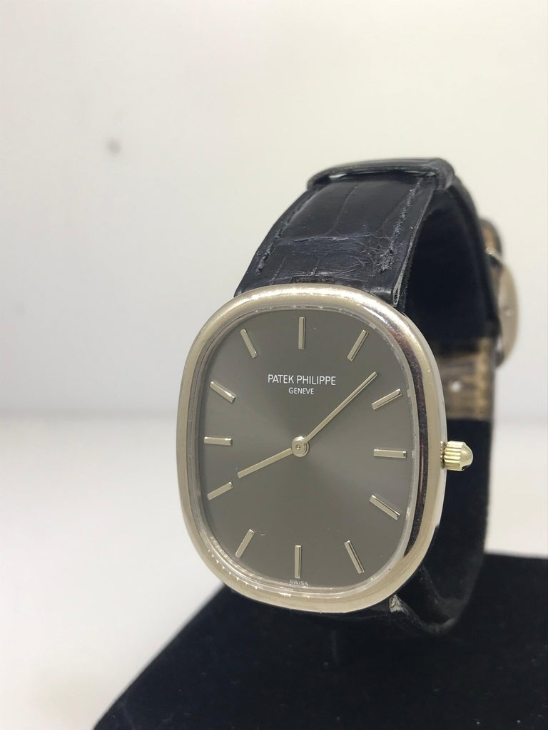 Patek Philippe Ellipse Men's White Gold Automatic Gray Dial Watch 3738/100G In Good Condition For Sale In New York, NY