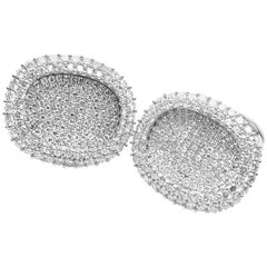 Patek Philippe Ellipse Pave 5 Carat Diamond White Gold Cufflinks