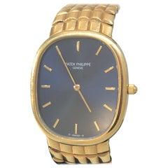 Patek Philippe Ellipse Yellow Gold Blue Dial Bracelet Men's Watch 3738/115