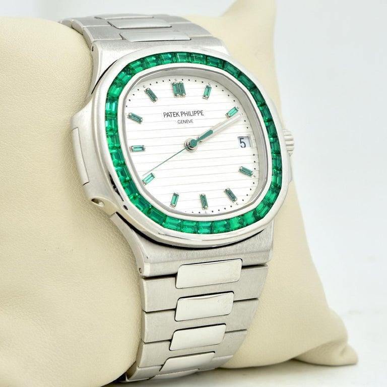 Women's or Men's Patek Philippe Emerald 5711P Nautilus 40th Anniversary Watch For Sale