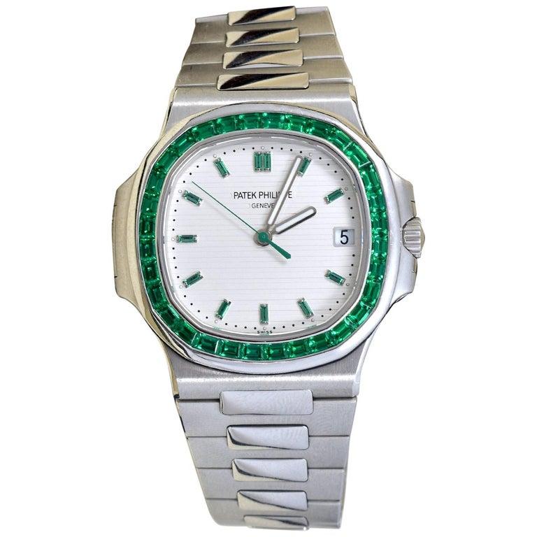 Patek Philippe Emerald 5711P Nautilus 40th Anniversary Watch For Sale