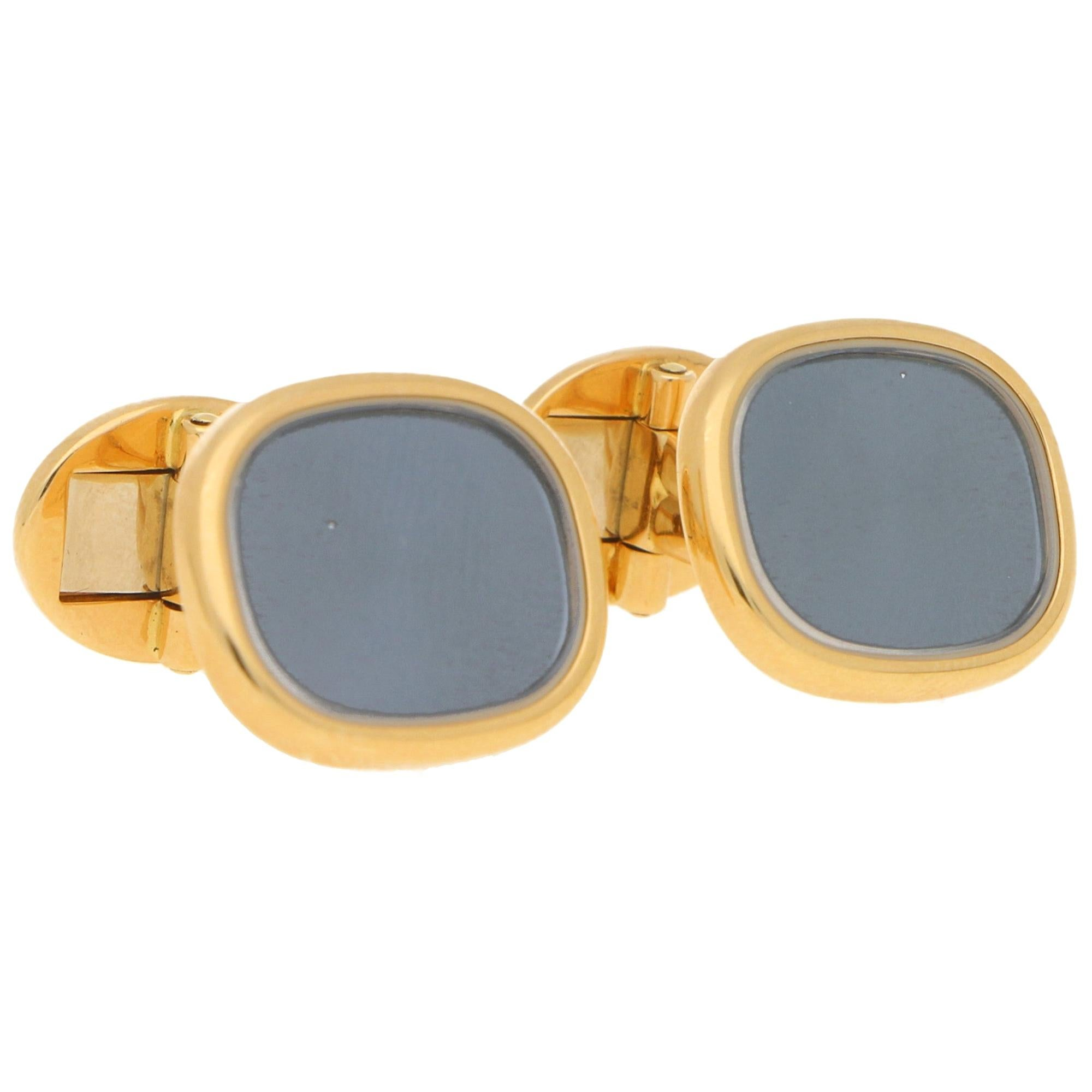 Patek Philippe Enamel and Rock Crystal Cufflinks in 18ct Yellow Gold