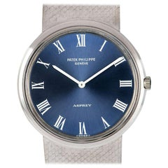 Patek Philippe for Asprey White Gold Calatrava Blue Dial Automatic Wristwatch