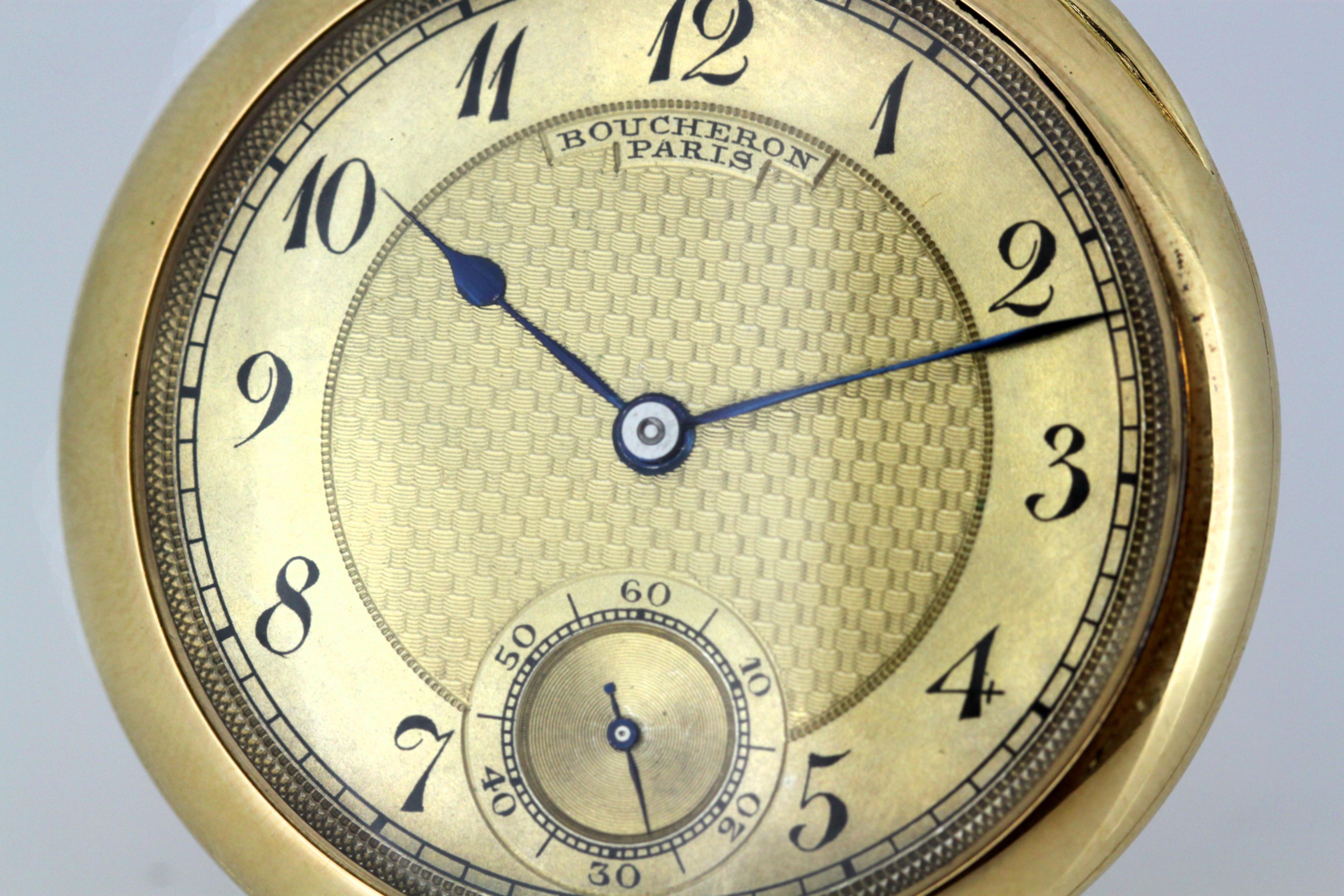 2371b475d Patek Philippe for Boucheron, 18 Karat Gold Pocket Watch, 1907 For Sale at  1stdibs