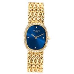 Patek Philippe Golden Ellipse 18 Karat Yellow Gold Blue Dial Ladies Watch 4698