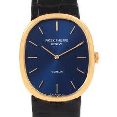 Patek Philippe Golden Ellipse 18 Karat Yellow Gold Blue Dial Men's Watch 3848