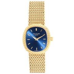 Patek Philippe Golden Ellipse 18 Karat Yellow Gold Blue Dial Men's Watch 4461
